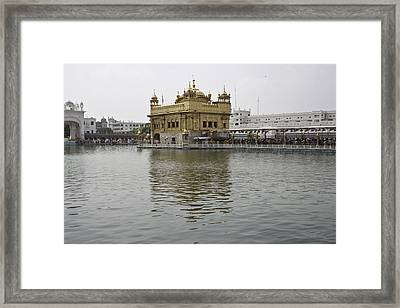 Darbar Sahib And Sarovar Inside The Golden Temple Framed Print