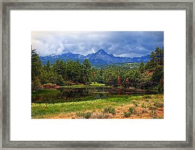 Dark Mountain Lake Framed Print