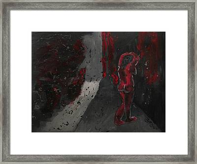 Framed Print featuring the painting Dark Raining Brooding Alley Chick by M Zimmerman