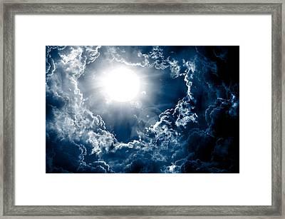 Dark Sky With Sun Framed Print