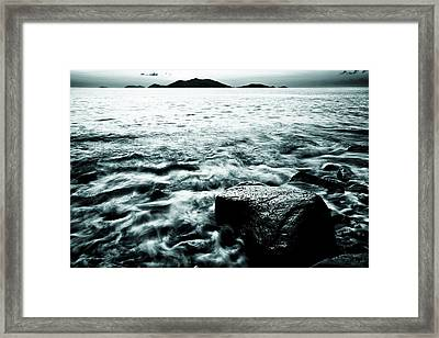 Dark Waves Swirling Around A Rock In The Caribbean In Black And White Framed Print