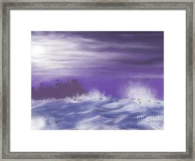 Framed Print featuring the painting Darkcastlemoon by Roxy Riou