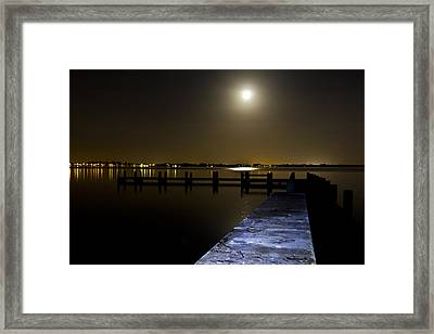 Darkness On The Bradenton Bay Framed Print by Nicholas Evans