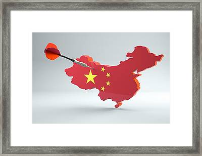 Dart Arrow In A Shape And Ensign Of China Framed Print by Dieter Spannknebel