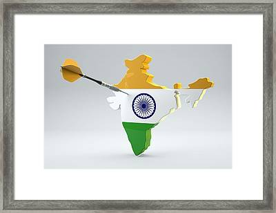 Dart Arrow In A Shape And Ensign Of India Framed Print by Dieter Spannknebel