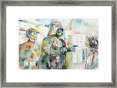 Darth Vader And Princess Leia Portrait Framed Print by Fabrizio Cassetta
