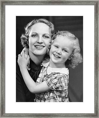 Daughter W/ Arm Around Mother Framed Print by George Marks