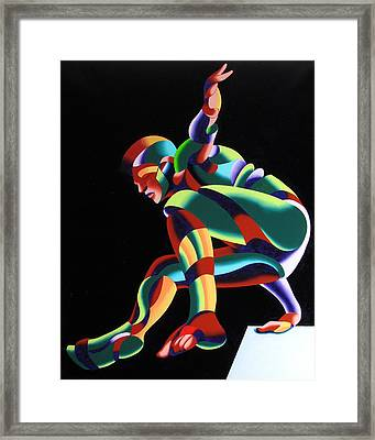 Dave 25-03 - Abstract Geometric Figurative Oil Painting Framed Print by Mark Webster