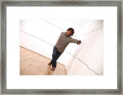 Dave Climbs The Wall Framed Print by Jez C Self