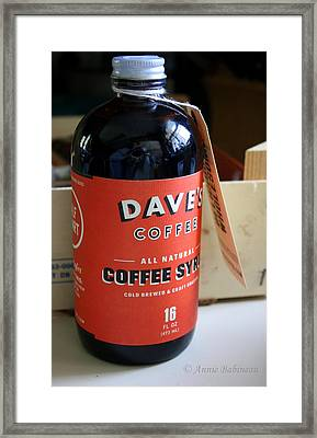 Daves Coffee Syrup Framed Print by Anne Babineau