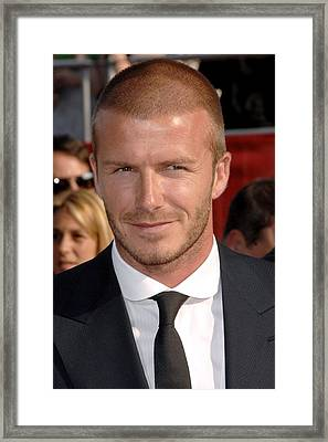 David Beckham At Arrivals For Arrivals Framed Print by Everett