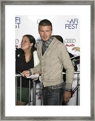 David  Beckham At Arrivals For Lions Framed Print