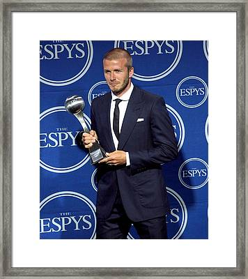 David Beckham In The Press Room For The Framed Print