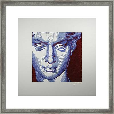 David In Periwinkle And Burgundy Framed Print by Barbara Lugge