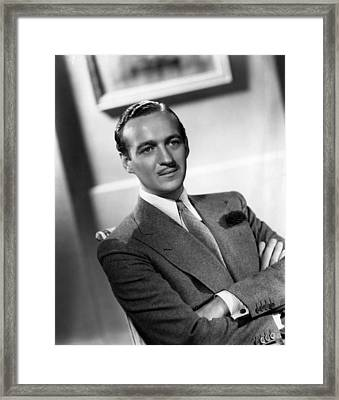 David Niven, Ca. Late 1930s Framed Print by Everett
