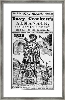 Davy Crocketts Almanack, Woodcut Framed Print by Everett