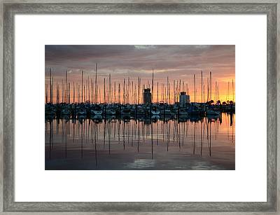 Dawn At The Marina Framed Print