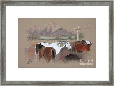 Dawn At Triangle X Corrals Jackson Hole Framed Print by Paul Miller