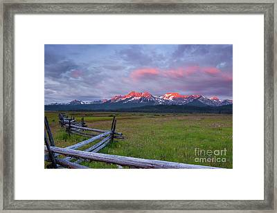 Dawn Light On The Sawtooth Mountains Framed Print by Keith Kapple