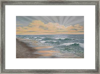 Framed Print featuring the painting Dawn Surf by Kathleen McDermott