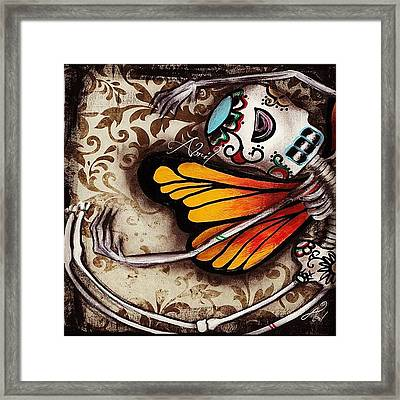Day Of The Dead Butterfly By Framed Print by  Abril Andrade Griffith