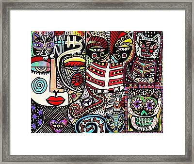 Day Of The Dead Cats Framed Print by Sandra Silberzweig