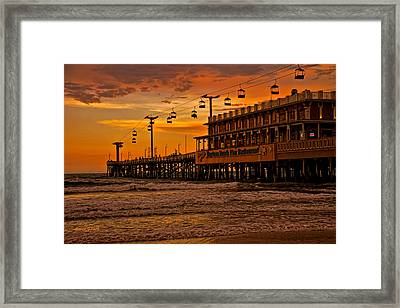 Daytona Beach Pier At Sunset Framed Print