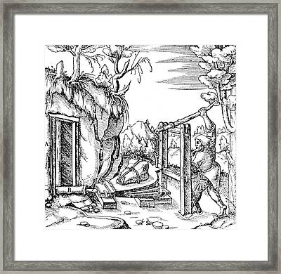 De Re Metallica, Bellows, 16th Century Framed Print by Science Source