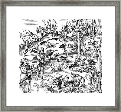 De Re Metallica, Prospecting Framed Print by Science Source