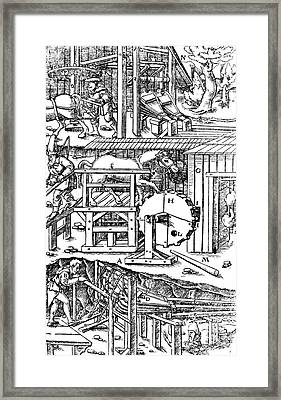 De Re Metallica, Ventilation Of Mines Framed Print by Science Source