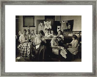 Deaf-mute Girls Sewing And Darning Framed Print