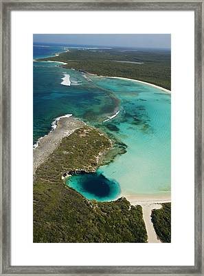 Deans Blue Hole, Earths Deepest Known Framed Print by Wes C. Skiles
