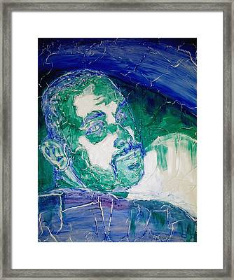 Death Metal Portrait In Blue And Green With Fu Man Chu Mustache And Cracking Textured Canvas Framed Print