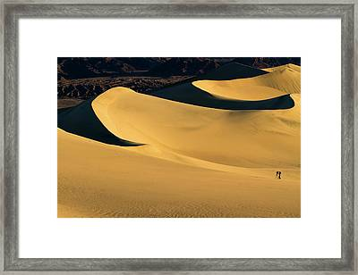 Death Valley And Photographer In Morning Sun Framed Print