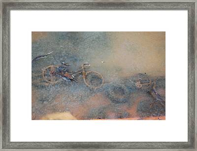 Debris In Canal Bed Framed Print