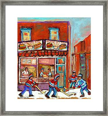 Decarie Hot Dog Montreal Restaurant Paintings Ville St Laurent Streets Of Montreal Paintings Framed Print by Carole Spandau