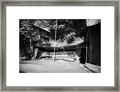 decaying defensive military position wall from 1974 at UN buffer zone in the green line cyprus Framed Print