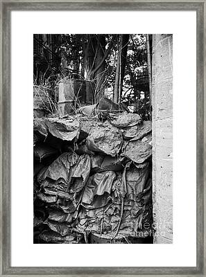 decaying sandbagged wall from 1974 at UN buffer zone in the green line dividing nicosia cyprus Framed Print