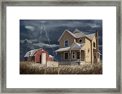 Decline Of The Small Farm Number 6 Version 2 Framed Print by Randall Nyhof