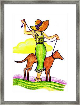 Deco Dog Walker Framed Print by Mel Thompson
