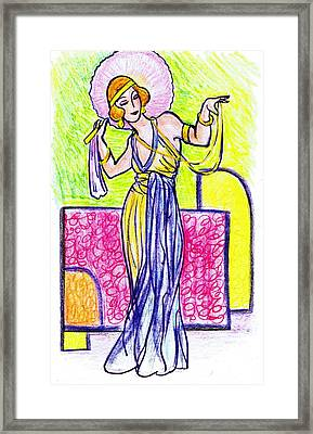 Deco Fan Lady Framed Print