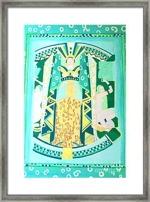 Framed Print featuring the painting Deco Green by Beth Saffer