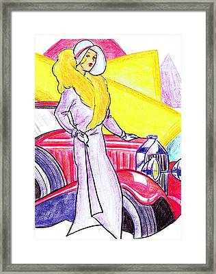 Deco Lady With Auto Framed Print