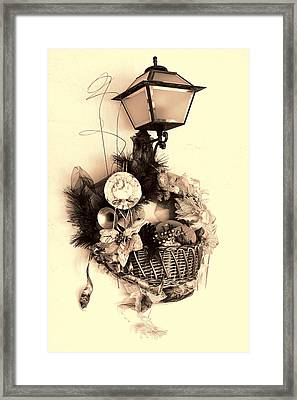 Decorative Holiday Basket With Lamp Framed Print by Linda Phelps