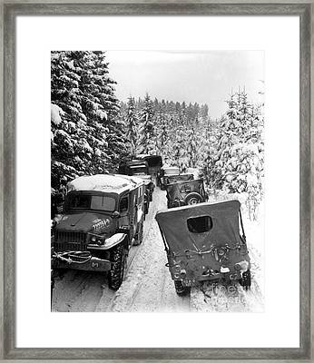 Deep Snow Banks On A Narrow Road Halt Framed Print by Stocktrek Images