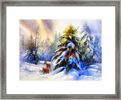 Deer In The Snowy Woods Framed Print by Elizabeth Coats