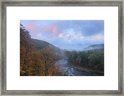 Deerfield River Mohawk Trail Autumn Evening Framed Print by John Burk