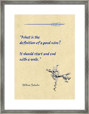 Definition Of Wine Framed Print by Elaine Plesser