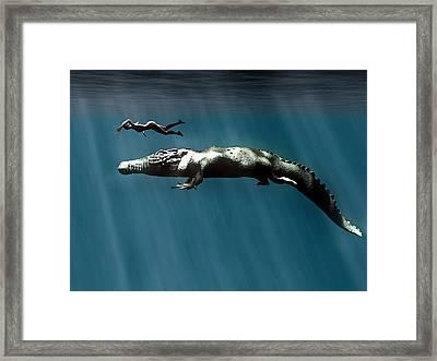 Deinosuchus Crocodile Framed Print