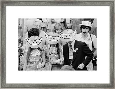 Delegates Wearing Jimmy Carter Smile Framed Print by Everett
